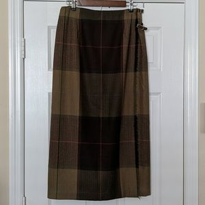 TALBOTS Plaid Wool Wrap Skirt
